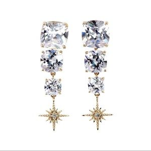 Gold square crystal pendant earrings